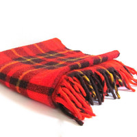 Vintage red plaid picnic or camp blanket / small fringed lap blanket