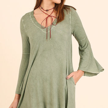 Women's Sage Washed Deep V Neck With Bell Sleeves Dress
