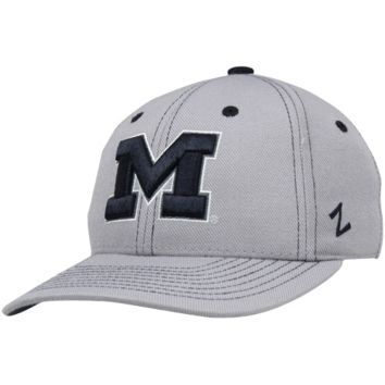 Zephyr Michigan Wolverines Overcast Fitted Hat - Gray