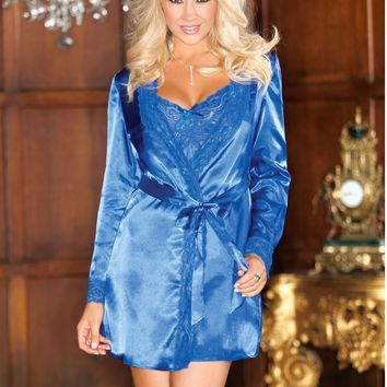 Satin Lace Trim Robe With Matching Sash (Large,Royal)