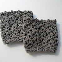Lace boot cuff, Grey Wool boot cuff, Crochet boot cuffs, Crochet lace boot topers,  fall color grey / gray ,  Teenage. Women.
