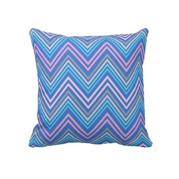 Periwinkle Blue Pink & Gray Chevron Pattern Throw Pillow- Chevron Pillow- Home decor, living room/bedroom, dorm, decor, decorative pillows