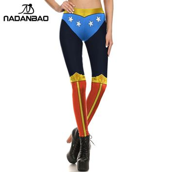 NADANBAO New Summer Woman Leggings Wonder Woman Legging Cosplay Comic Leggins For Woman Fitness Cool Leggings