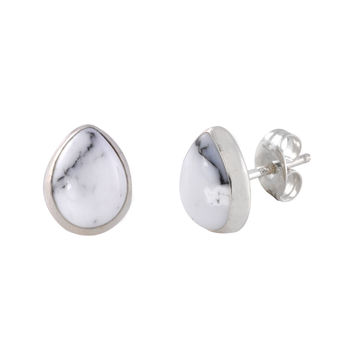 White Turquoise Gemstone Stud Earrings Sterling Silver Pear Shaped 7mm x 9mm
