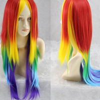 Long Multi Rainbow Color Anime Cosplay Lolita Carnival Wig For Women,Colorful Candy Colored synthetic Hair Extension Hair Wig