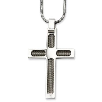 Stainless Steel Wire and Polished Cross Necklace - 24 Inch