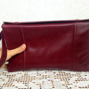 Maroon Bag, Genuine Leather Oxblood Clutch, Toiletry Pouch, Cosmetic Bag, Make Up Organizer, Burgundy Purse, Wine Red Wristlet, Vanity Bag
