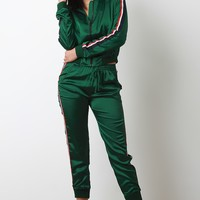 Stripe Trim Drawstring Jogger Pants