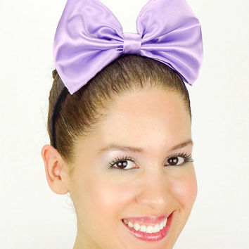 Daisy Duck Headband Light Purple Minnie Mouse Halloween Costume Daisy Duck bow Daisy Duck Halloween Costume Outfit Ears Satin Disney Bow new