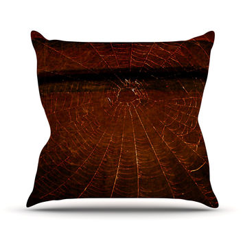"Robin Dickinson ""Dark Web"" Maroon Red Throw Pillow"