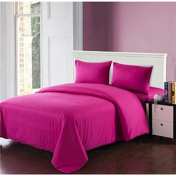 Tache 3-4 Piece Cotton Solid Hot Pink Comforter Set With Zipper (3-4PCOM-W/Zip-Pink)