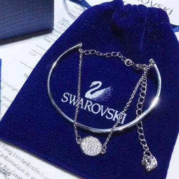 Swarovski Women Fashion New Diamond Round Pendant Personality Bracelet Silver