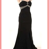 Beaded Black Chiffon Elegant Evening Gown-Black Prom Dresses-Formal Gowns