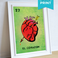 Loteria El Corazon Mexican Retro Illustration Art Print Vintage Large Poster Giclee on Satin or Cotton Canvas Wall Decor