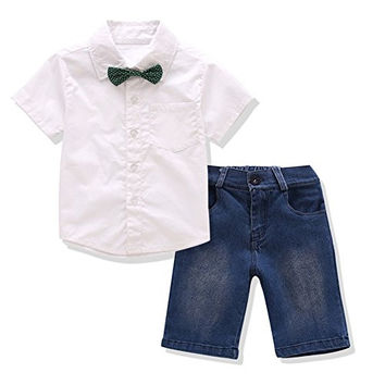 Little Boys' Clothing Sets, 3 PCS Short Sleeve Shirt & Jeans Shorts & Bowtie for 2-5 years Boys