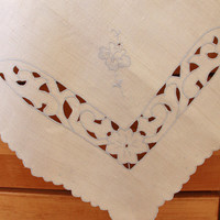 Linen Embroidered Tablecloth Beige Blue Flower Scalloped - Vintage