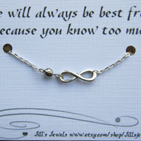 Funny Frienship Infinity Charm Bracelet a Crystal and Friendship Quote Card- Bridesmaids Gift - Friends Forever - Quote Gift