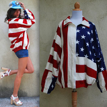 Vintage 90s Stars and Stripes Bomber Jacket (size large, xl)