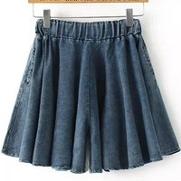 Blue Elastic Waist Pleated Denim Shorts