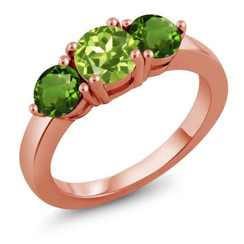 1.90 Ct Green Peridot Green Chrome Diopside 18K Rose Gold Plated Silver Ring