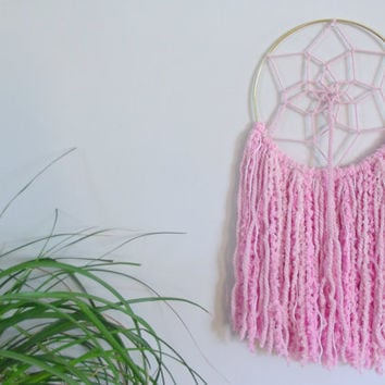 Pink Dreamcatcher Pink Dream Catcher Yarn Wall Hanging Girls Room Decor Baby Girl Nursery Decor Nursery Mobile Boho Decor Shabby Chic