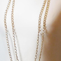 Extra Long Chain Necklace, 92 inches, Large Chain Links, Closure, Wrap Chain, Layered, Flapper, 20s style, Vintage, Unpolished, Gold Tone