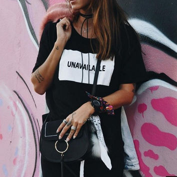 "New Summer fashion women O Neck letter""unavailable"" short sleeve T-shirt -0627"
