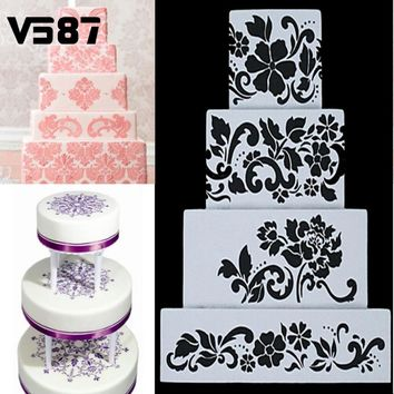 4Pcs DIY Reusable Cake Baking Stencils Cookie Sugar Crafts Side Wedding Decor Home Bakery Cake Decor Tools Accessories Bakeware