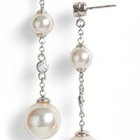 Women's Majorica Pearl & Cubic Zirconia Linear Earrings - Pearl/ Clear