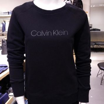 Big CK-hedge pure color letters female sweater cotton velvet cashmere in the long section female top tide