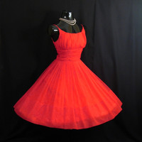 Vintage 1950's 50s Bombshell RED Ruched Chiffon Organza Party Prom Holiday Xmas DRESS Gown