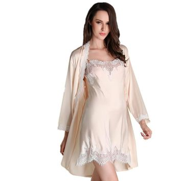 New 2017 Summer Style Two Pieces Robe Set Luxury Lace Satin Silk Nightgown Bathrobe Pijamas Mujer Sexy Ladies Nightgowns Hot