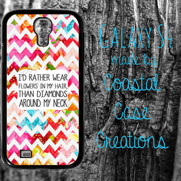 Colorful Floral Chevron Flowers and Diamonds Quote Samsung Galaxy S4  2 Piece Durable Cell Phone Case Cover Original Design
