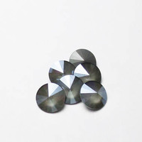 Six Dark Grey 1122 12mm Unfoiled Swarovski Pointed Back Rivoli DKSJewelrydesigns