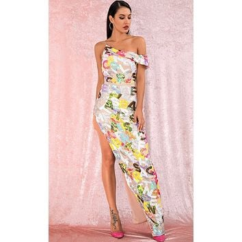 Finally Mine Multicolor Sequin Letter Pattern Sleeveless Off The Shoulder Cut Out Side Slit Maxi Dress