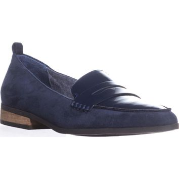 Dr. Scholls Eclipse Flat Penny Loafers, Navy Suede, 8.5 W US