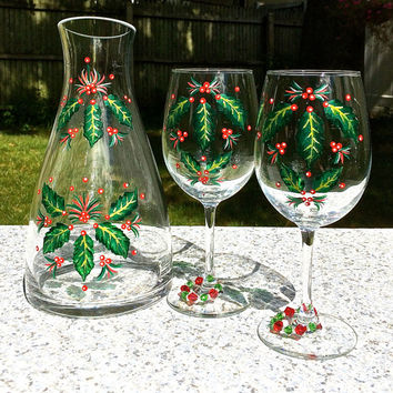 Hand Painted Christmas Wine Carafe and Matching Wine Glasses Set of 3, Christmas Gift, Holiday Gift, Christmas Glasses, Christmas Carafe