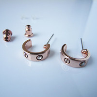 rose gold earrings,Large circle, small circle,simple earrings, sweet necklace,perfect gift for lover