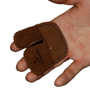 Brown Archery Hunting Two Finger Guard Cow Leather Protective Gear Archery Recurve Bow Gloves Shoot