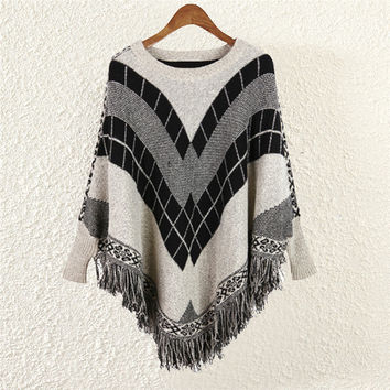 Women's Knit Bat Sleeve Sweater Cape