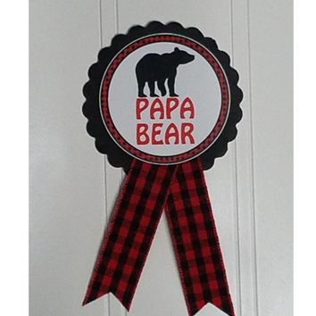 Buffalo Plaid Papa Bear Personalized Baby Shower Pin for dad to be or Grandma to be to wear at Baby Sprinkle