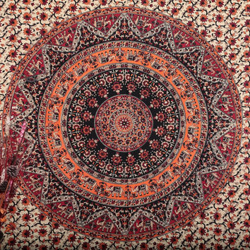 Orange White Elephants Boho Mandala Bohemian Tapestry Wall Hanging - Free Shipping