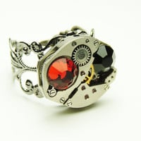steampunk swiss watch movement ring- victorian steampunk - adjustable