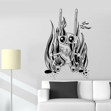 Wall Decal Fish Sea Ocean Bottom Seaweed Monster Bubbles Vinyl Decal Unique Gift (ed463)