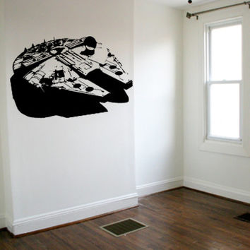 Star Wars Decal Millenium Falcon Wall Decal Boys Kids Wall Art Space Wall Decal star wars sticker Bedroom Wall Art Gift Decoration 12 x 12
