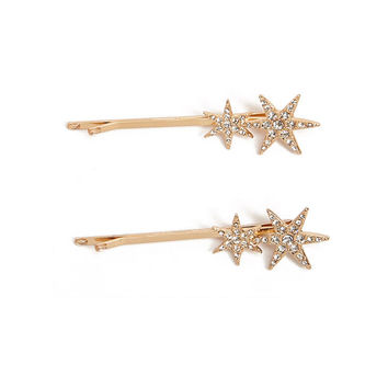 Rhinestone Star Bobby Pin Set