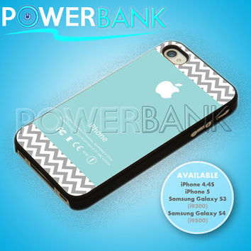 Chevron pattern on blue color Apple logo - iPhone 4/4s/5 Case - Samsung Galaxy S3/S4 Case - Black or White