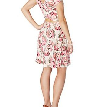 Rose Cross-Back Skater Dress