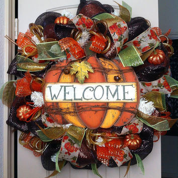 Deluxe Pumpkin Welcome Deco Mesh Wreath