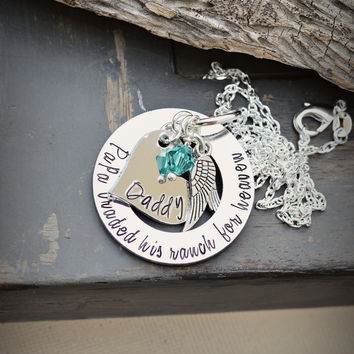 Cowboy memorial necklace angel wing silver jewelry in loving memory jewelry personalized personalised jewellery papa jewelry estate memorial
